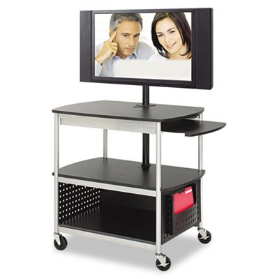 SCOOT FLAT PANEL MULTIMEDIA CART, THREE-SHELF, 39.5W X 27D X 68H, BLACK