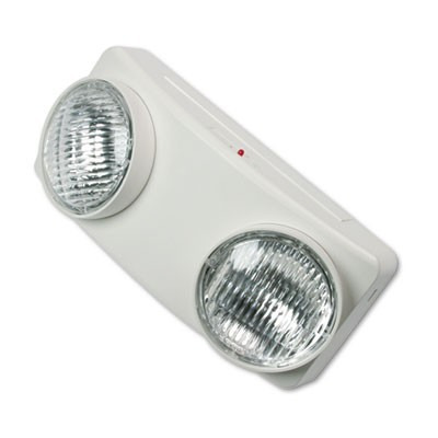 "SWIVEL HEAD TWIN BEAM EMERGENCY LIGHTING UNIT, 12.75""W X 4""D X 5.5""H, WHITE"