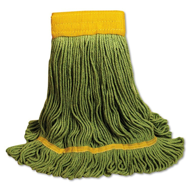 Ecomop Looped-End Mop Head, Recycled Fibers, Extra Large Size, Green, 12/ct