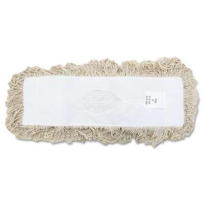 Industrial Dust Mop Head, Hygrade Cotton, 18w X 5d, White