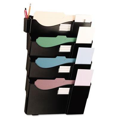 Grande Central Filing System, Four Pocket, Wall Mount, Plastic, Black