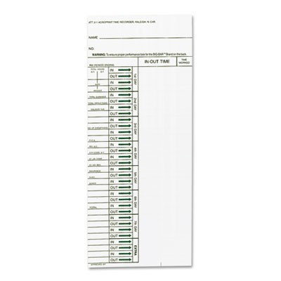 Time Card For Model Att310 Electronic Totalizing Time Recorder, Weekly, 200/pack